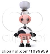 Clipart 3d Chef Cow Standing Upright And Facing Front Royalty Free Vector Illustration