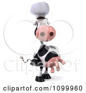 Clipart 3d Chef Cow Standing Upright And Positioned Facing Right Royalty Free Vector Illustration