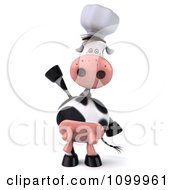 Clipart 3d Chef Cow Standing Upright And Waving Royalty Free Vector Illustration