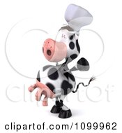 Clipart 3d Chef Cow Standing Upright Facing Left And Holding Up Its Arms Royalty Free Vector Illustration