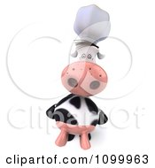 Clipart 3d Chef Cow Standing Upright And Looking Up Royalty Free Vector Illustration