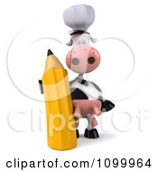 Clipart 3d Chef Cow Standing Upright And Holding A Pencil Royalty Free Vector Illustration