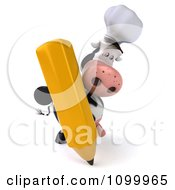 Clipart 3d Chef Cow Standing Upright And Writing With A Pencil Royalty Free Vector Illustration