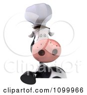 Clipart 3d Chef Cow Over A Sign Royalty Free Vector Illustration
