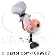 Clipart 3d Chef Cow Looking Around A Sign Royalty Free Vector Illustration