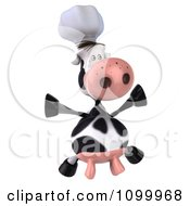 Clipart 3d Chef Cow Jumping Royalty Free Vector Illustration