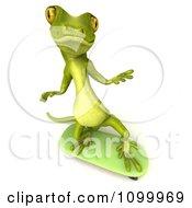 Clipart 3d Green Gecko Skateboarding 1 Royalty Free CGI Illustration