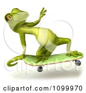 Clipart 3d Green Gecko Skateboarding 2 Royalty Free CGI Illustration