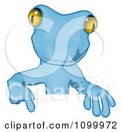 Clipart Blue Cartoon Gecko Pointing Down At A Sign Royalty Free Illustration