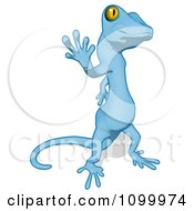Clipart Blue Cartoon Gecko Walking And Waving Royalty Free Illustration