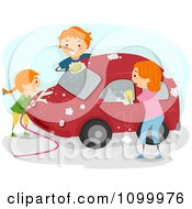 Happy Family Washing Their Red Car Together