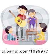 Clipart Happy Father Playing Guitar While His Kids Sing Royalty Free Vector Illustration