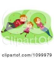 Clipart Happy Family Laying In Grass And Gazing At Clouds Royalty Free Vector Illustration