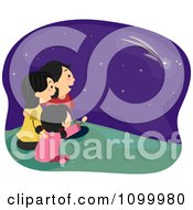 Clipart Happy Family Sitting Outoors And Watching Shooting Stars Royalty Free Vector Illustration
