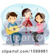Clipart Happy Musical Family Singing And Playing A Guitar On Their Couch Royalty Free Vector Illustration