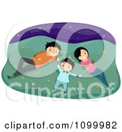 Clipart Happy Family Laying In Grass And Gazing At Stars Royalty Free Vector Illustration