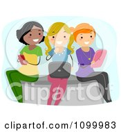 Clipart Three Young Ladies Using A Cell Phone Laptop And Tablet Royalty Free Vector Illustration