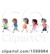 Clipart Line Of African American Children Walking Royalty Free Vector Illustration