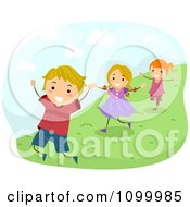 Clipart Happy Energetic Children Running Down A Hillside Royalty Free Vector Illustration