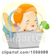 Clipart Happy Baby In A Grocery Basket With Healthy Foods Royalty Free Vector Illustration