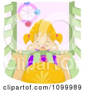 Clipart Happy Girl Laughing In Front Of A Baby In A Crib Over Pink Royalty Free Vector Illustration by BNP Design Studio
