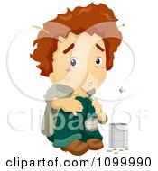 Clipart Smelly Homeless Beggar Boy With A Change Can And Flies Royalty Free Vector Illustration by BNP Design Studio