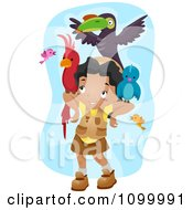 Clipart Happy Black Girl With A Lot Of Birds On Her Arms And Head Royalty Free Vector Illustration