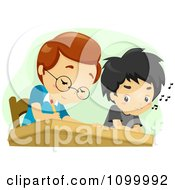 Clipart School Boy Cheating By Looking At His Classmates Work Royalty Free Vector Illustration