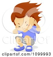 Clipart Boy Plugging His Ears And Being Hit With Noise Royalty Free Vector Illustration