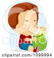 Clipart Boy Drinking Fresh Pineapple Juice Through A Straw Royalty Free Vector Illustration