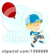 Clipart Happy Boy Running With A Balloon Royalty Free Vector Illustration