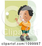 Clipart Black Boy Knocking On A Bathroom Door And Trying Not To Pee His Pants Royalty Free Vector Illustration by BNP Design Studio
