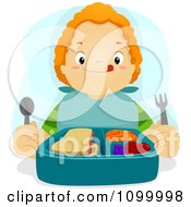 Clipart Hungry Red Haired Boy Licking His Lips Over His Lunch Royalty Free Vector Illustration