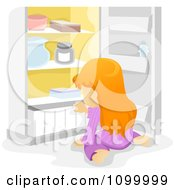 Clipart Hungry Girl Sitting In Front Of An Open Refrigerator Royalty Free Vector Illustration by BNP Design Studio