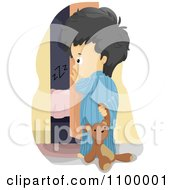 Clipart Scared Boy Sneaking Into His Parents Room With His Teddy Bear Royalty Free Vector Illustration