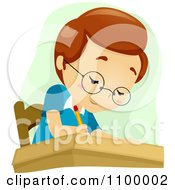 Clipart Smart School Boy Writing In Class Royalty Free Vector Illustration