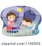 Clipart Happy Father Reading His Children A Bed Time Story Royalty Free Vector Illustration