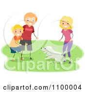 Clipart Happy Family Playing With Their Dog In A Park Royalty Free Vector Illustration
