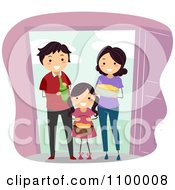 Clipart Happy Family Bringing Food And Beverage To Welcome New Neighbors Royalty Free Vector Illustration