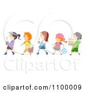 Clipart Line Of Diverse Children Gardening Royalty Free Vector Illustration