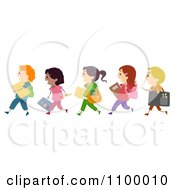 Clipart Line Of Diverse Children Going To Art School Royalty Free Vector Illustration