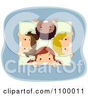 Clipart Happy Diverse Children Peeking Through A Square Opening Royalty Free Vector Illustration