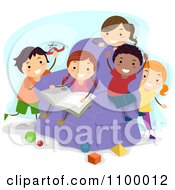 Clipart Happy Diverse Kids Reading And Playing With Shapes Royalty Free Vector Illustration