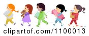 Clipart Line Of Diverse Girls Going To A Slumber Party Royalty Free Vector Illustration
