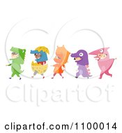 Clipart Line Of Diverse Children In Dinosaur Costumes Royalty Free Vector Illustration