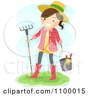Clipart Happy Farmer Girl Carrying Garden Tools And A Rake Royalty Free Vector Illustration