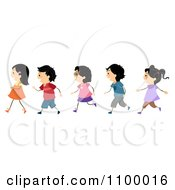 Clipart Line Of Asian Children Walking Royalty Free Vector Illustration