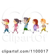 Clipart Line Of Diverse Baseball Children Royalty Free Vector Illustration