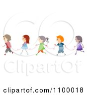 Clipart Line Of Diverse Children With Red Strings Royalty Free Vector Illustration