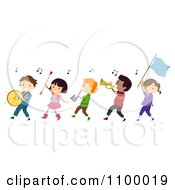 Line Of Diverse Marching Band Children